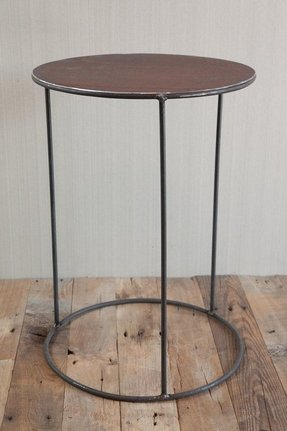 Round industrial steel side table