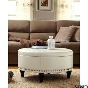 Round Leather And Wood Ottoman