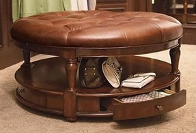 Round Leather Coffee Table Ottoman 10