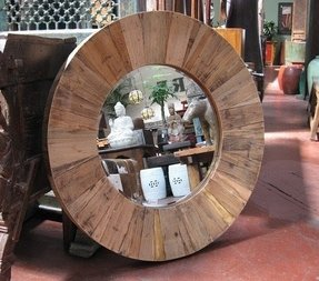 Round Mirror Wood Frame 8
