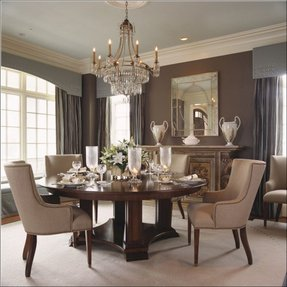Round wood dining room table sets 4