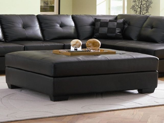 Superieur Tan Leather Ottoman Coffee Table