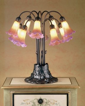 "Tiffany Pond Lily 22"" H Table Lamp with Bell Shade"