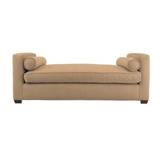 Upholstered bench with arms 3