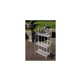 Vintage style antique white three tier wrought iron bakers rack