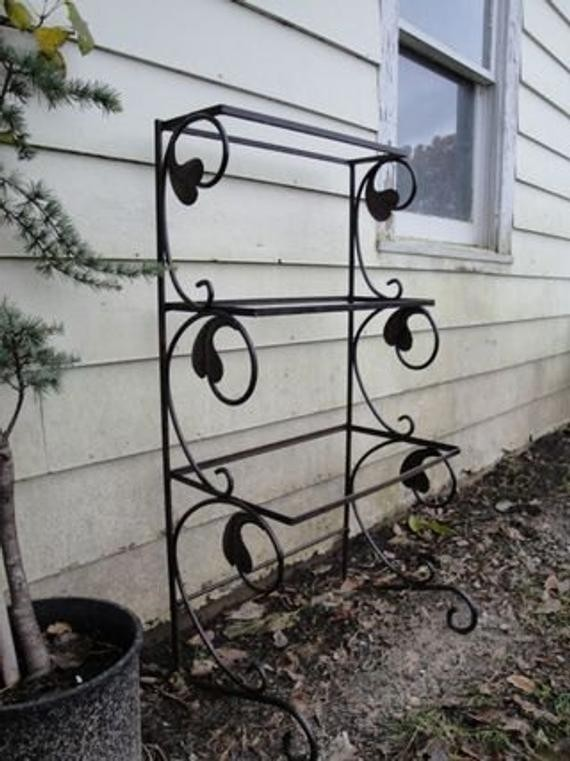 Vintage wrought iron three tiered plant stand shelf & Metal Tiered Plant Stand - Foter