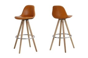 Wood And Leather Bar Stools 2