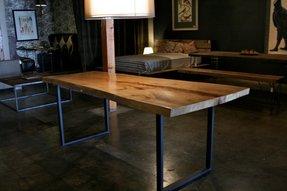 Wood Table Metal Base