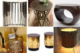 Side Table In Drum Shape. It Is Made Of Wood And Metal. Base Is Finished  With Sophisticated Ornamentation. Great Addition For All Kinds Of Interiors  ...