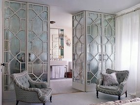 Etched mirror doors w lucite pulls great room dividers