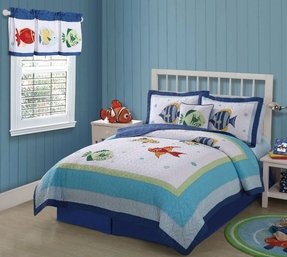 Kids ocean fish bedding twin 2pc quilt set tropical sea