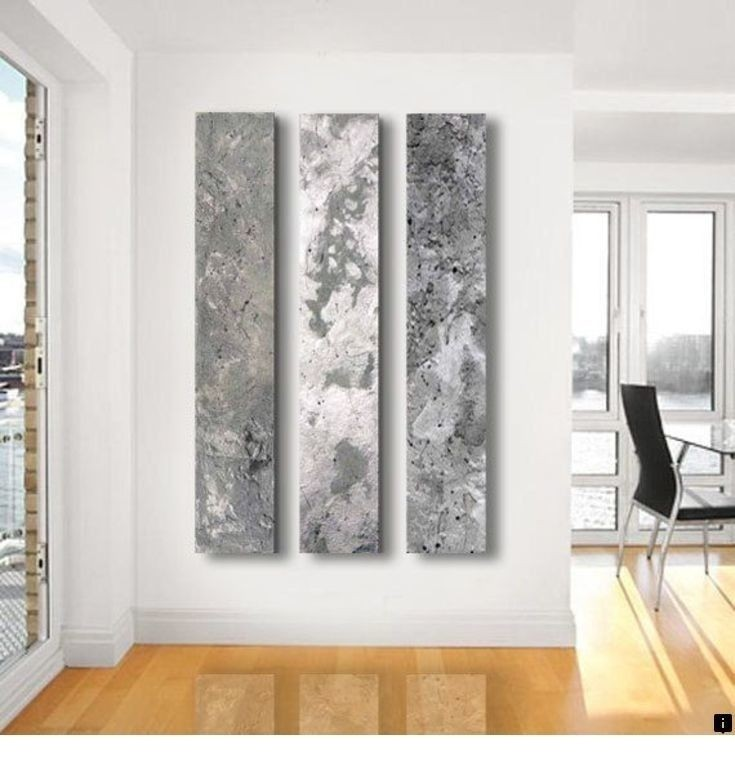 Metallic Abstract Paintings 3 Panel