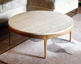 Mid Century Vintage Round Coffee Table With Marble Top
