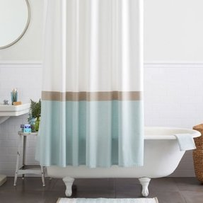 Mrk horizon stripe shower curtain clearwater 1