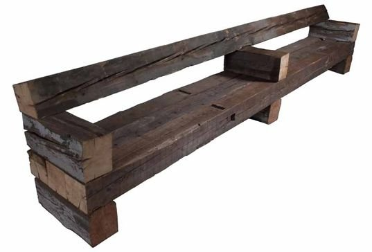 Rustic Bench With Back
