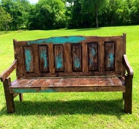 A Beautiful Bench In Rustic Style That Will Be Fabulous Decoration Of Your Garden It S Solid Wooden Piece Dark Brown Color With Distressed