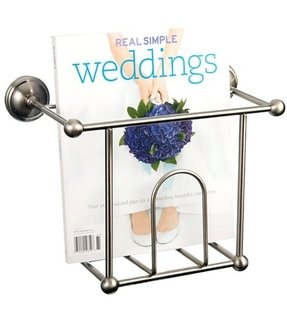 Satin Nickel Wall Mount Bathroom Magazine Rack Accessory 1