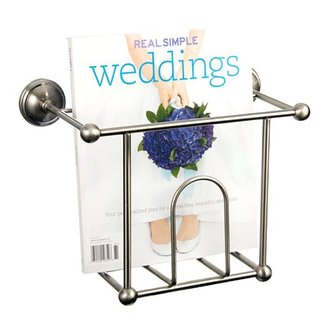 Satin nickel wall mount bathroom magazine rack bathroom accessory 1