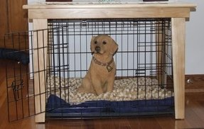 Small wooden dog crate