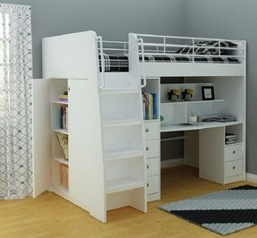 White loft bed with desk and stairs 3
