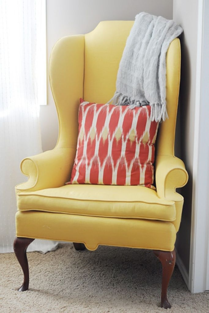 Beautiful Yellow Wingback Chair 5