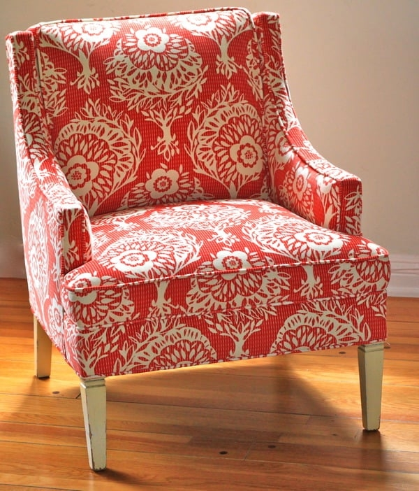 New Red Pattern Accent Chair Interior
