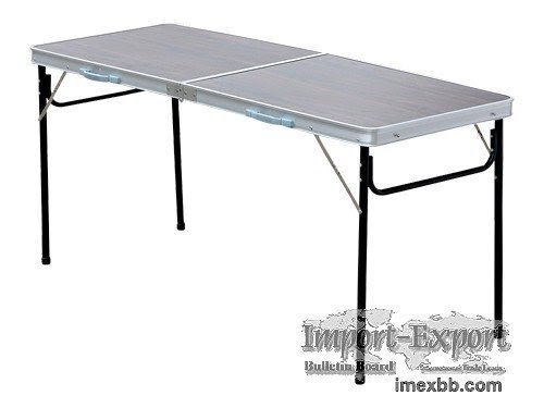 Brown aluminum folding camping picnic table