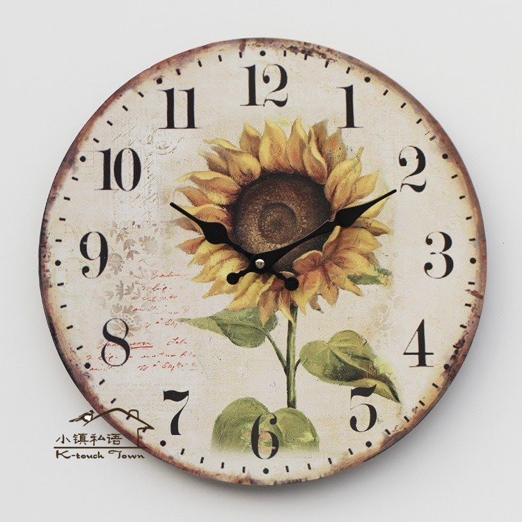 Wall Clock With Sunflower Theme. Includes Quartz Movement And Arabic  Numeral. Shield Is Made Of Wood With Antique Finish. Received A Lot Of Top  Ratings From ...