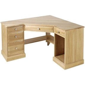 Furniture unfinished oak corner desk with keyboard tray and files