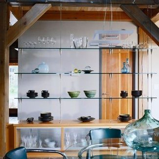 Glass shelves living room