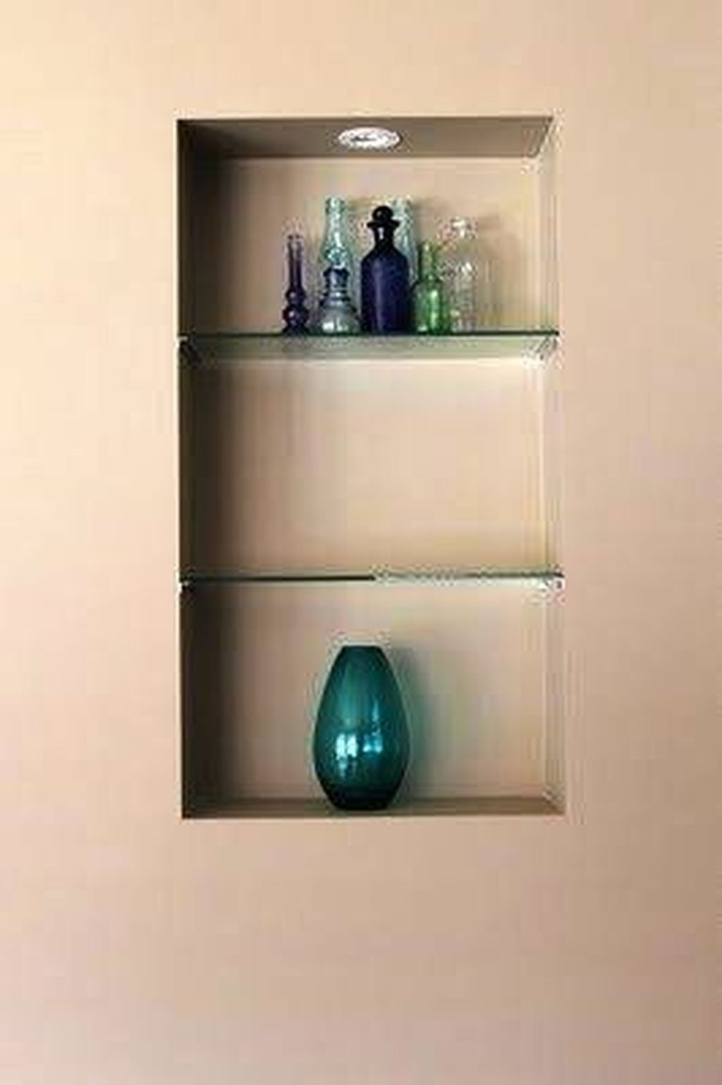 Glass wall shelves for living room