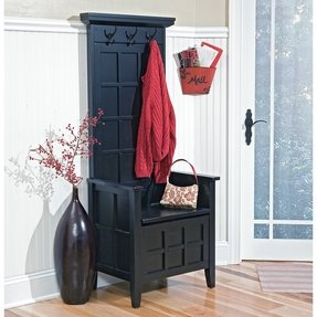 Home styles regina black narrow hall tree and storage bench