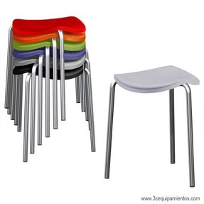 Stackable stool with engineering polymer seat and chromium plated