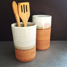 Tall red clay stoneware utensil holders