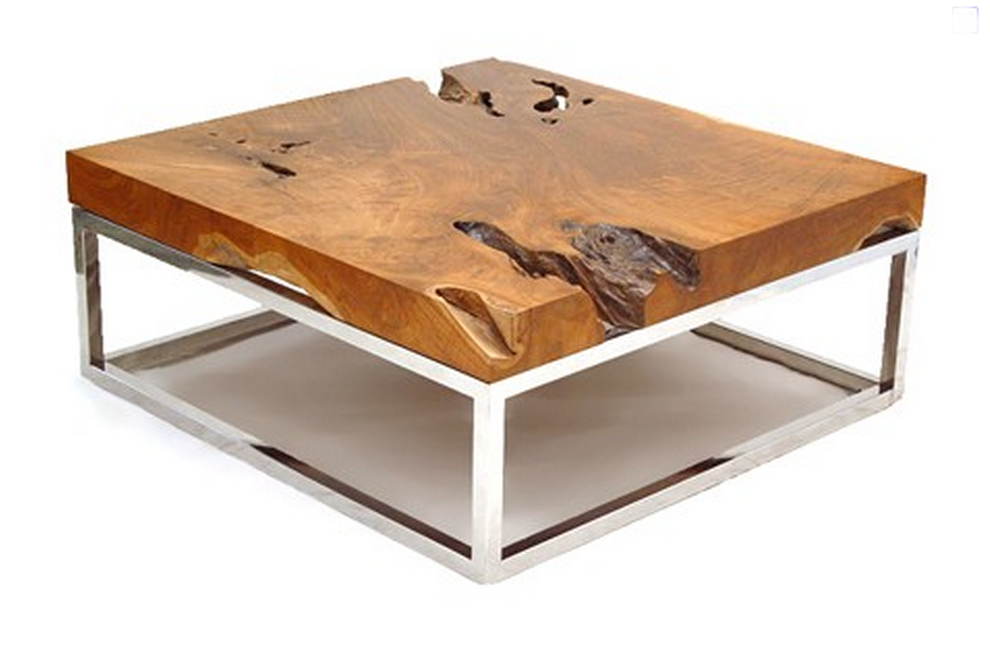 Wood and chrome coffee table 1