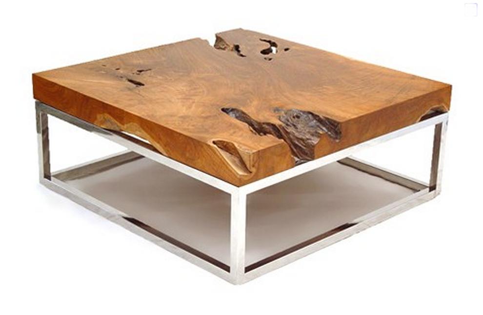 Bon Wood And Chrome Coffee Table 1
