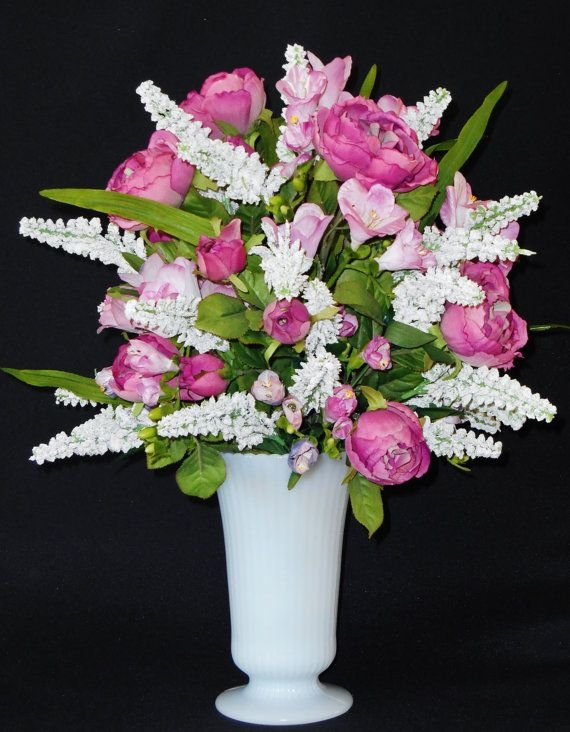 Artificial flower arrangement mauve