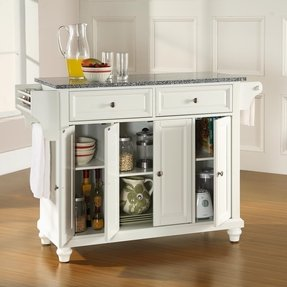 Crosley cambridge kitchen island with stainless steel top in white