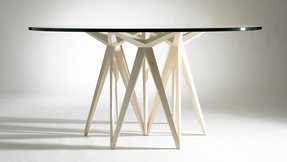 Dining table round glass 1