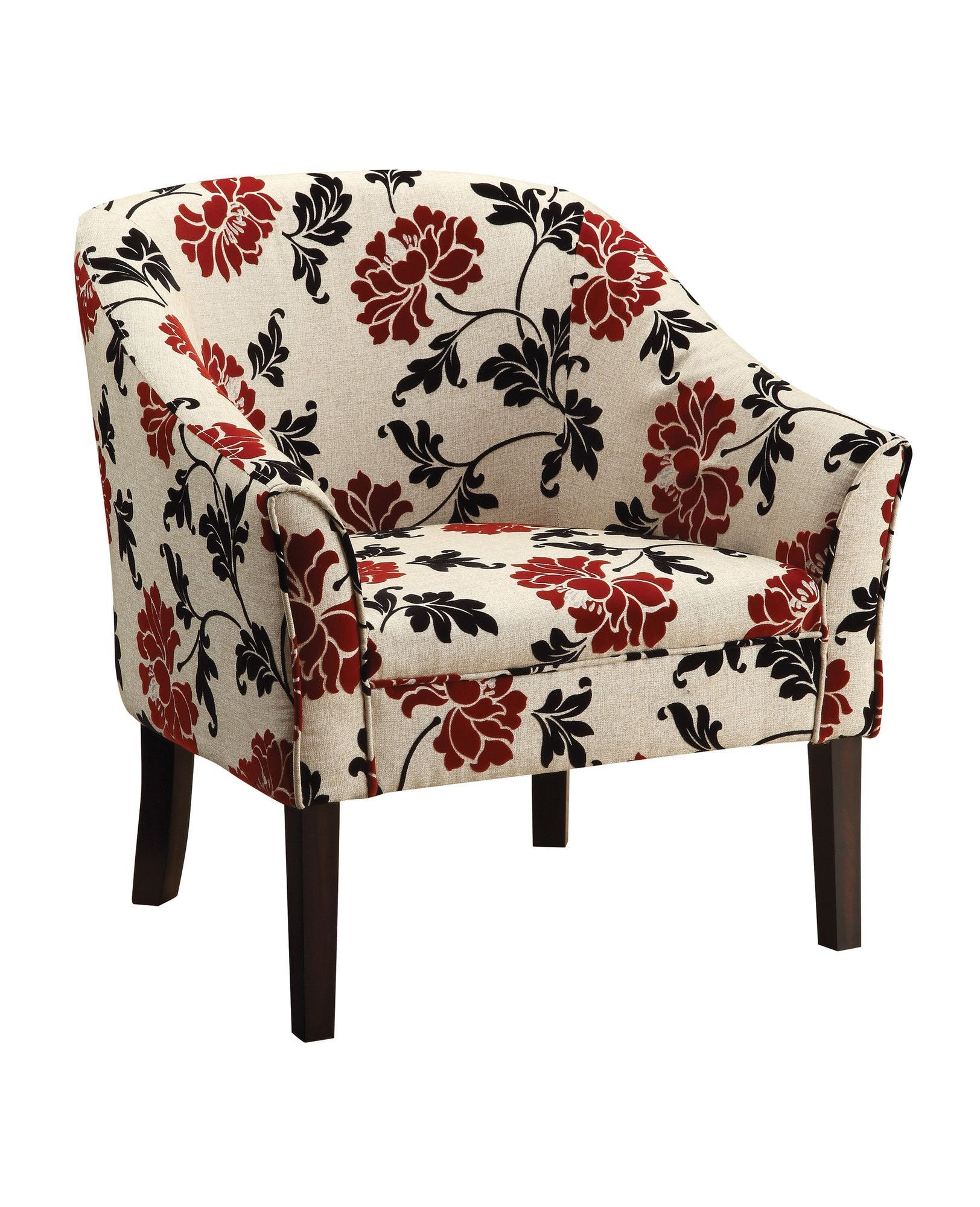 Genial Floral Upholstered Accent Chair