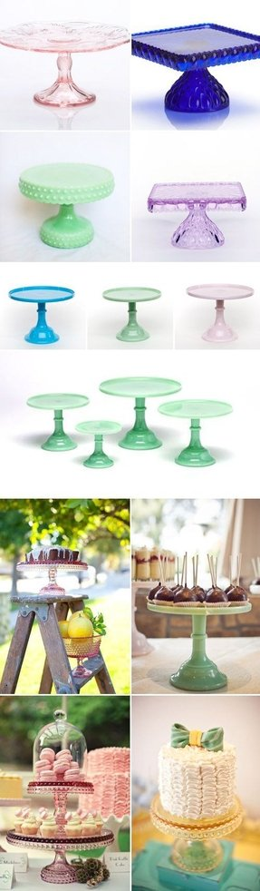 Glass hobnail and milk glass cake stands from masterful wedding