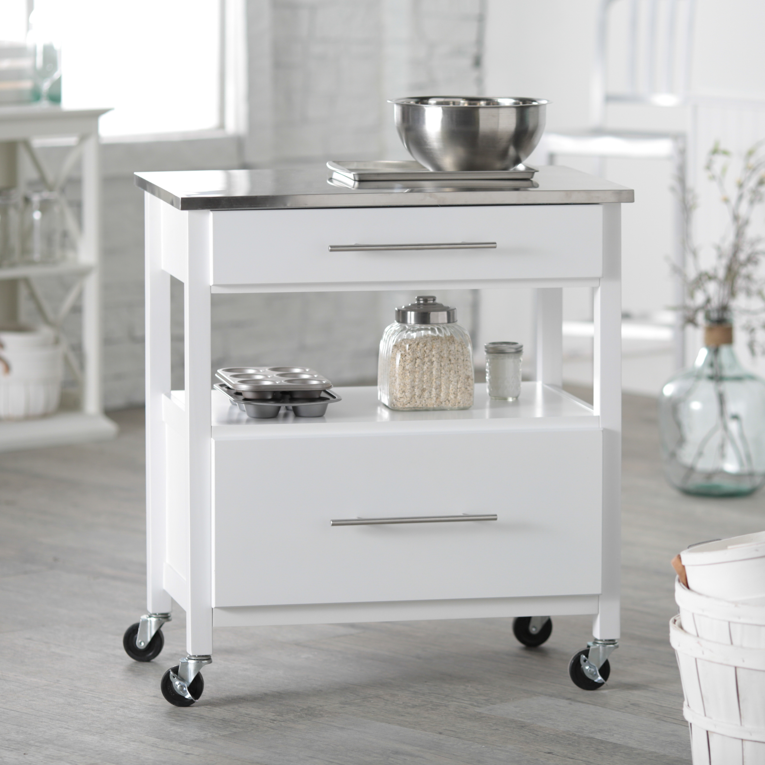 Gentil Kitchen Island With Stainless Steel Top 30