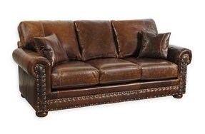 Leather sofa nailhead trim