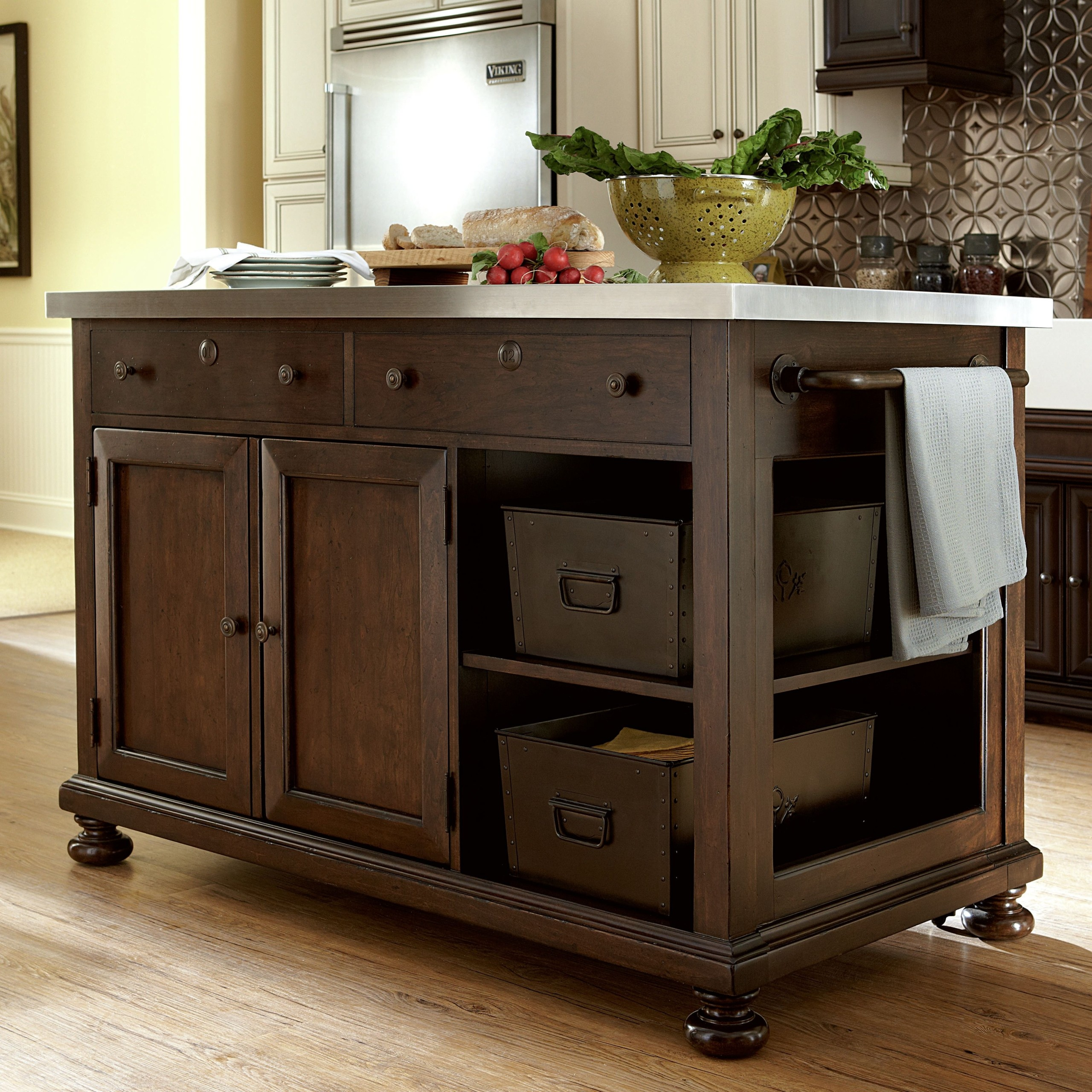 Paula Deen Home Kitchen Island With Stainless Steel Top