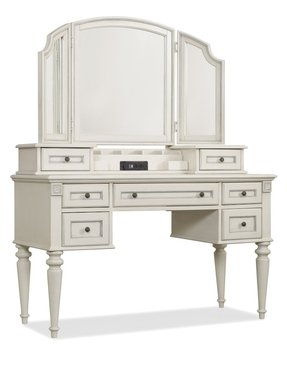 White Vanity Desk With Mirror 1