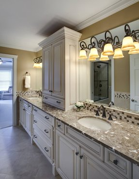 Distressed White Bathroom Vanity Cabinet