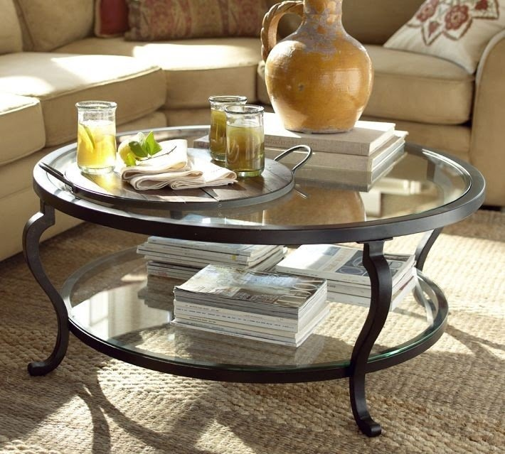Louisa Metal Glass Round Coffee Table
