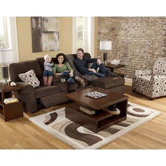 Reclining sofa with chaise lounge