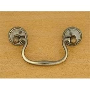 Swan neck lifting drawer handle on rosettes