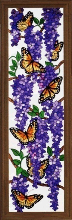 Violet butterfly wisteria stained glass window panel